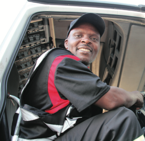 Lovemore Ncube at the wheel of his 18 wheeler which he drives long haul between Durban and Johannesburg.